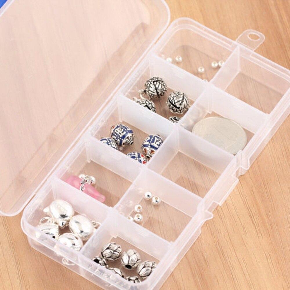 Plastic 10 Slots Jewelry Adjustable Tool Box Case Craft Organizer Storage Beads
