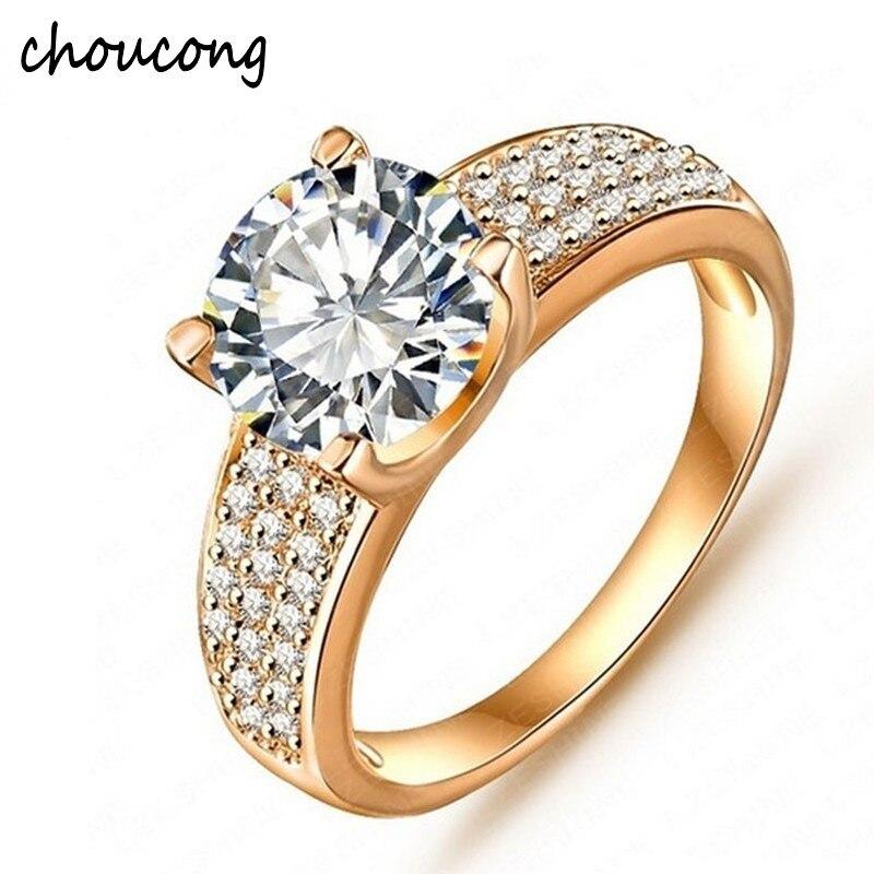 5d6b2467a642 Большая Акция! Мода 24 K позолоченные обручальные кольца для Женское  Обручальное украшение Винтажное кольцо циркониевые
