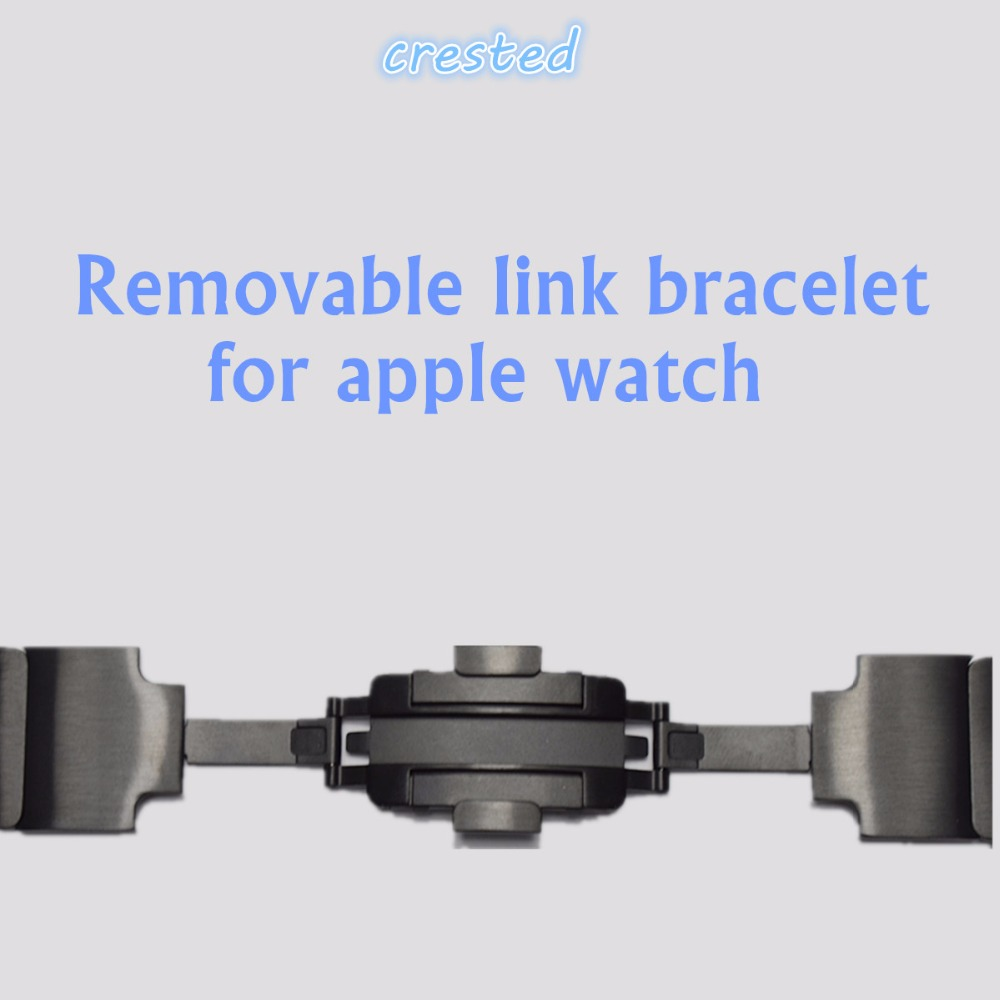 CRESTED Removable 316L Stainless Steel link bracelet & Luxury stainless Metal strap for apple watch band 42 mm 38 mm 1 2 3 crested milanese loop strap metal frame for fitbit blaze stainless steel watch band magnetic lock bracelet wristwatch bracelet