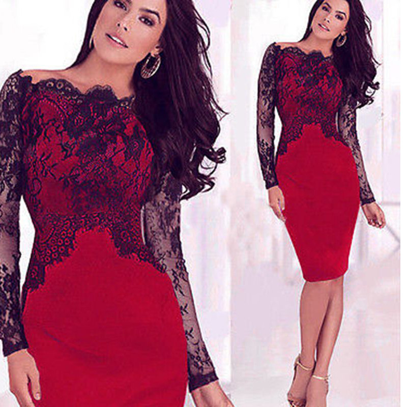 Black-Lace-Sheath-Plus-size-Mother-of-the-bride-Dresses-Full-long-sleeve-Knee-length-Cheap