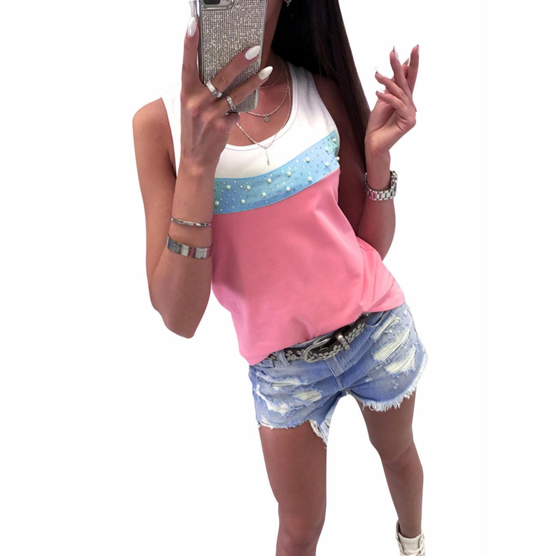 Lâche Dames Réservoir rose Respirant Casual Mode Feminina Top Camisa Blouse Rayé Bleu Haut Femmes Sans jaune D'été Harajuku Manche p6ARAqY