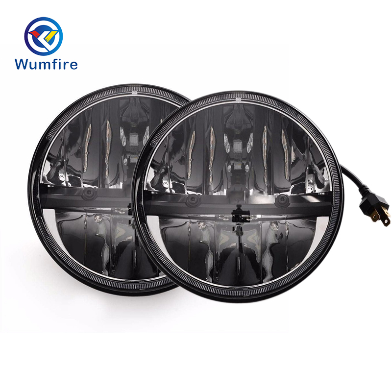 2PCS Front Light Round Headlights 7 inch Headlamp Offroad 7