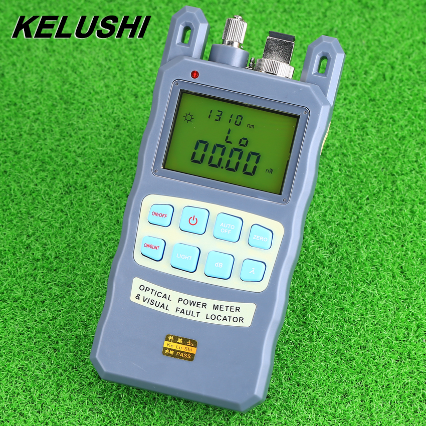 KELUSHI All-IN-ONE 1mw Fiber optical Power Meter -70 to +10dBm Fiber Optic Cable Tester Tool Visual Fault Locator 5km