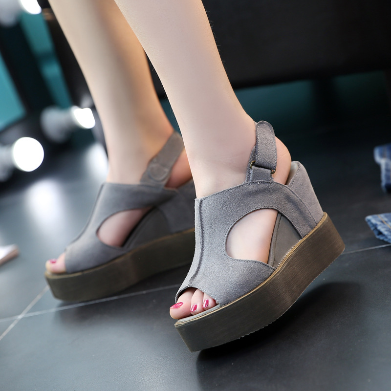 Jookrrix 2018 Fashion Brand Girl Gladiator Sandals Real Leather Platform Shoes Women Casual Wedges Female Fish Mouth Lady Soft students female sandals fashion 2017 fish mouth shoes denim girl with thick bottom wedges sponge soles casual and comfortable