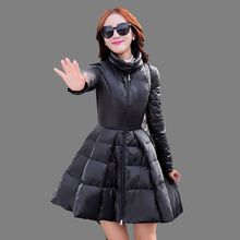 Europe 2016 Winter Latest Fashion Women Coat Elegant Pure color Slim Big yards Warm Medium long White Duck Down Jacket G0283