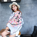2016 Fashion Silk Scarf Women Flower Print Scarves Brand Bandana High Quality Long Shawl Cape Wraps