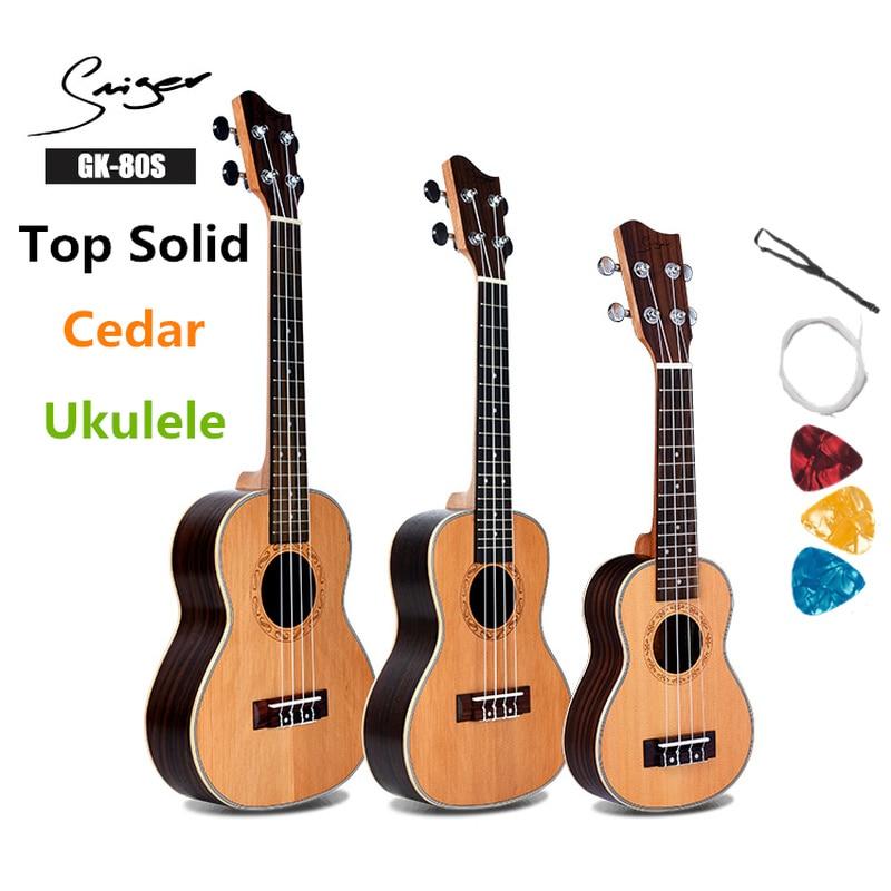 Top solide cèdre ukulélé palissandre Soprano Concert ténor 21 24 26 pouces pick-up Mini 4 cordes Ukelele Guitarra guitare de voyage