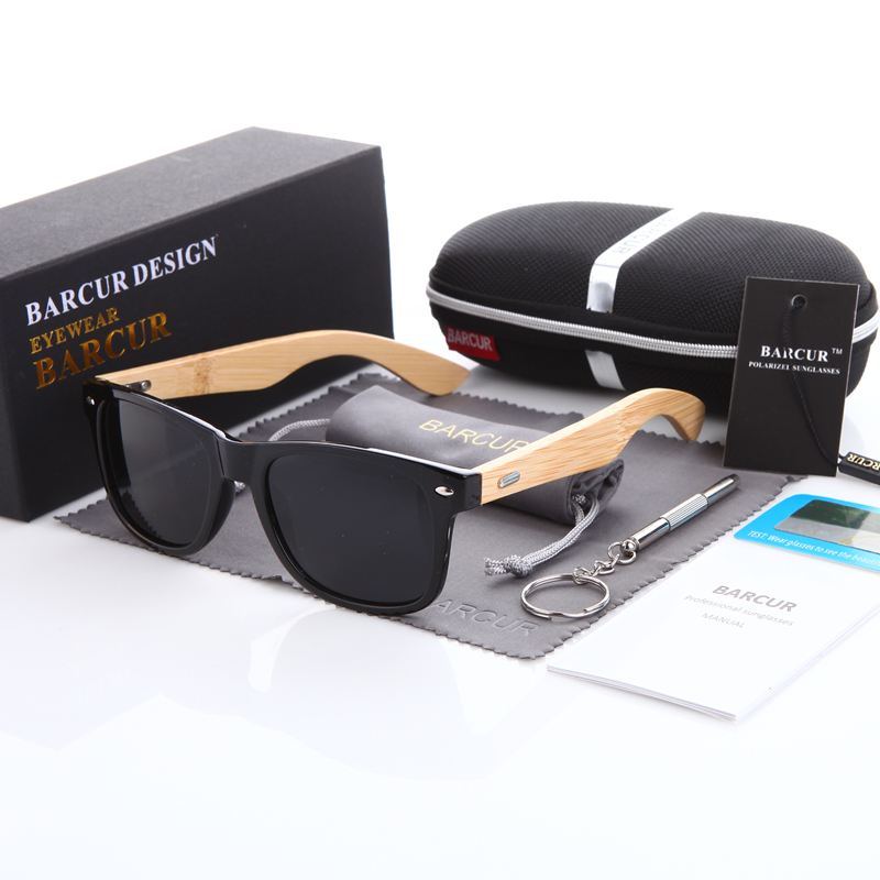 BARCUR Bamboo Polarized Sunglasses Men Polarized Wooden Sun