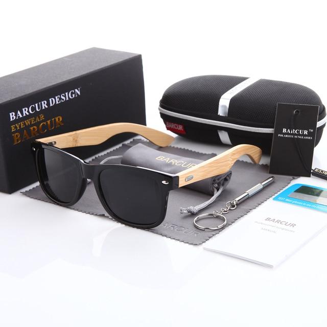 034589d00cc6f BARCUR Bambu Polarizada Óculos De Sol Dos Homens Polarizados Óculos De  Madeira De Madeira óculos De