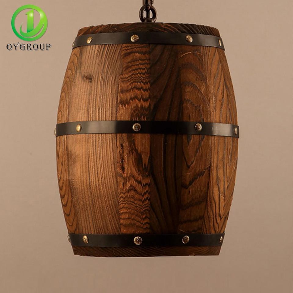 American country loft wood wine barrel hanging fixture ceiling retro country wooden barrel pendant lights lamp creative loft e27 lighting fixture art decoration for bar arubaitofo Image collections