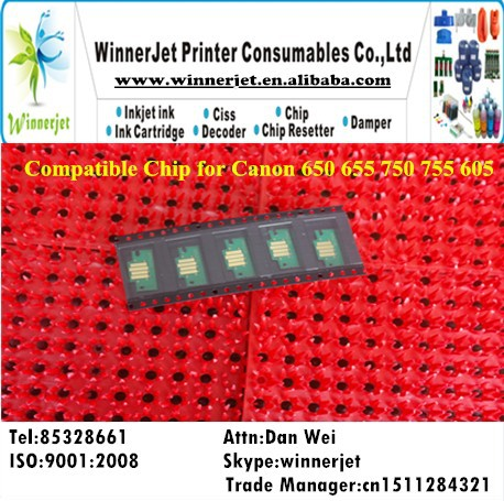 Compatible Chip for Canon 650 655 750 755 605