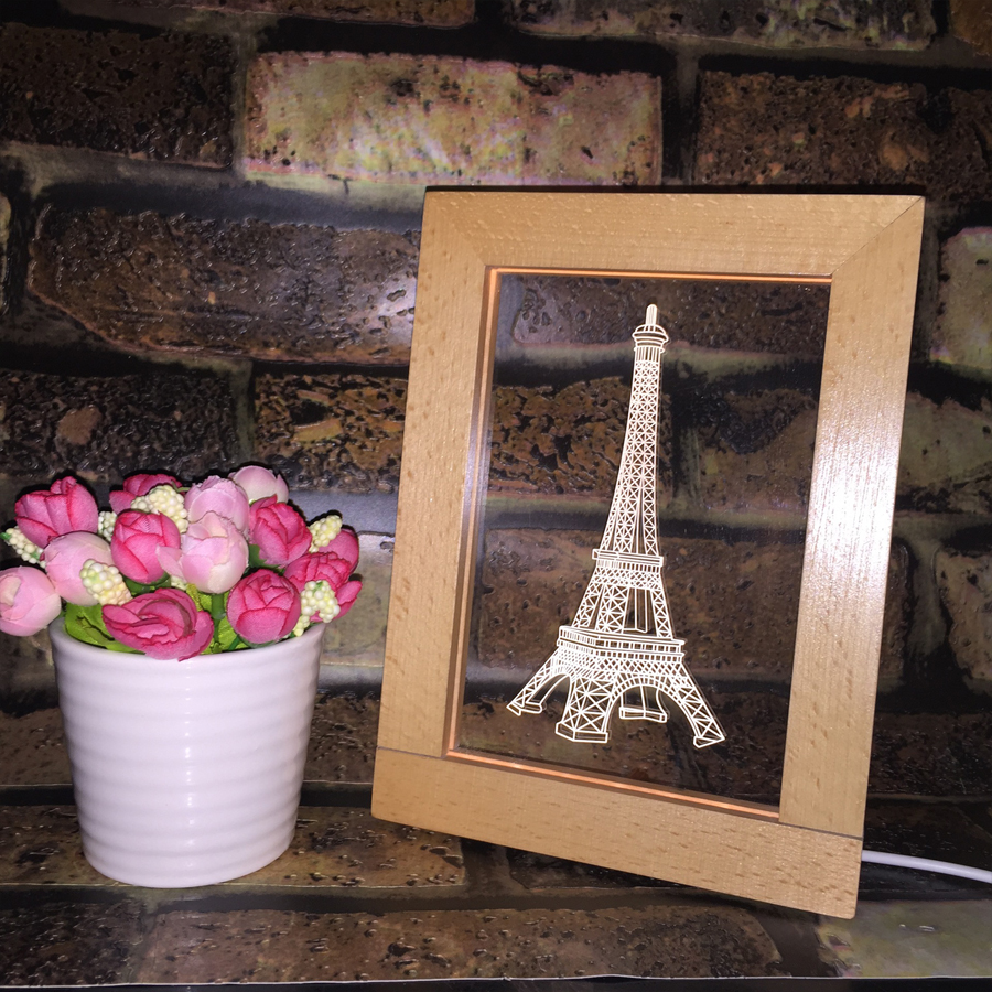FL-727 3D Photo Frame LED Night Light Wooden Eiffel Tower Decorative USB Lamp Christmas Gifts In-Outdoor Fairy Decoration Lights