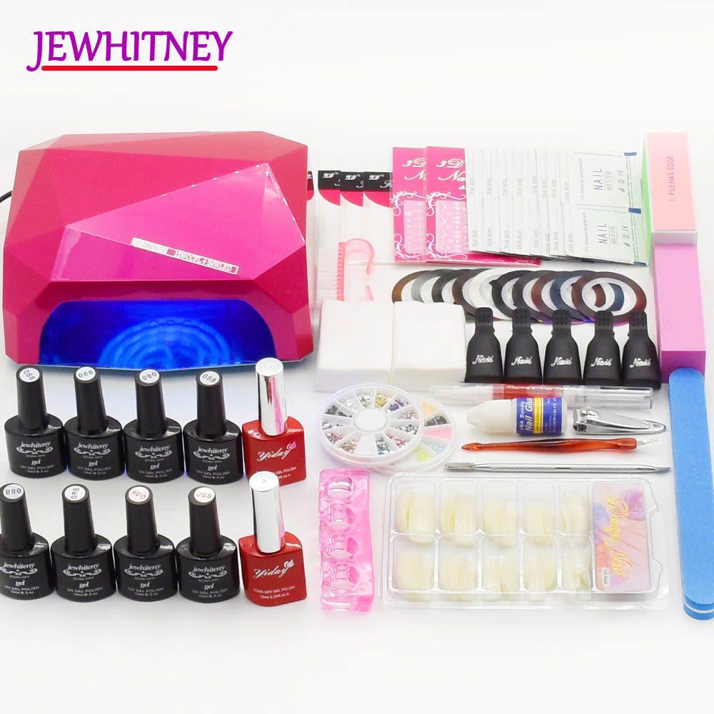 UV Nail Gel Polish Nail Art Set 36W CCFL LED Nail Lamp Dryer Manicure Set Gel Lamp Maniucre Tools Kit Nail art tools 8 Colors 48w nail polish gel art tools professional ccfl led uv lamp light 110 220v nail dryer automatic induction 10s 20s 30s timer
