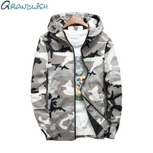 Grandwish Spring Autumn Mens Camouflage Hooded Jacket Men Windproof Men's Windbreaker Jackets Coats Plus Size 4XL ,DA723