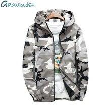 Grandwish/Демисезонный Для мужчин s камуфляж куртка с капюшоном Для мужчин ветрозащитный Для мужчин ветровка куртки пальто плюс Размеры 4XL, DA723
