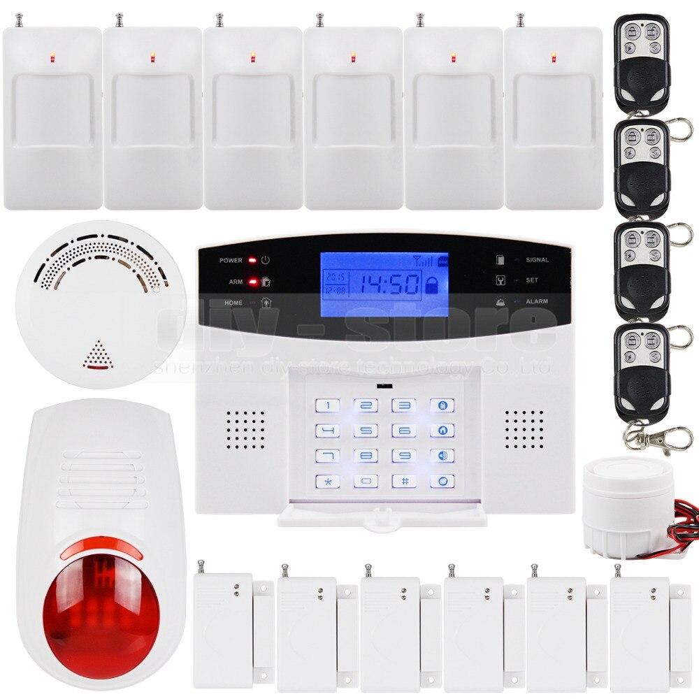 DIYSECUR LCD Wireless Wired GSM SMS Home Security Alarm System Wireless Flash Siren Smoke Sensor
