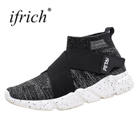 Spring Summer Men Sport Shoes High Top Brand Sock Sneakers Mesh Breathable Walking Shoes 2018 Sports