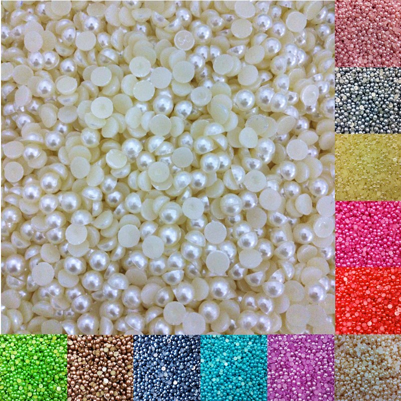 LNRRABC Sale 4mm 1000 piece lot Half Round Acrylic Beads for Nail Art Phone Home DIY Decoration wholesale free shipping ly