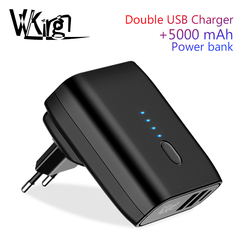 VVKing Travel USB Charger 5000mAh Power bank 2 in 1 EU US Foldable Plug 2.4A Fast Charging For iPhone Xiaomi Phone