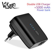 цена на VVKing Travel USB Charger 5000mAh Power bank 2 USB Charger 2 in 1 EU US Foldable Plug 2.4A Fast Charging For iPhone Xiaomi Phone