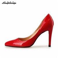 LLXF stiletti Più: 40-45 46 47 48 Oro/Nastro 10 cm sottili degli alti talloni delle donne Pantent In Pelle A Punta pompe sapato