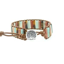 цена на Leather Wrap Bracelet Handmade Natural Stone Tube Beads Vintage Cuff Bracelet New Fashion Bracelets Creative Gifts