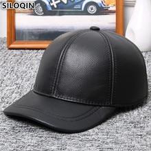 SILOQIN الشتاء الدافئة الرجال قبعات جلد طبيعي جلد البقر الطبيعي البيسبول قبعات جديد قابل للتعديل حجم الماركات منتصف العمر اللسان قبعة