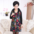 Winter Middle Aged Women Warm Vest With Velvet Fashion Plus Size Mother's Thick Sleeveless Coat Floral Waistcoat Long Cardigan