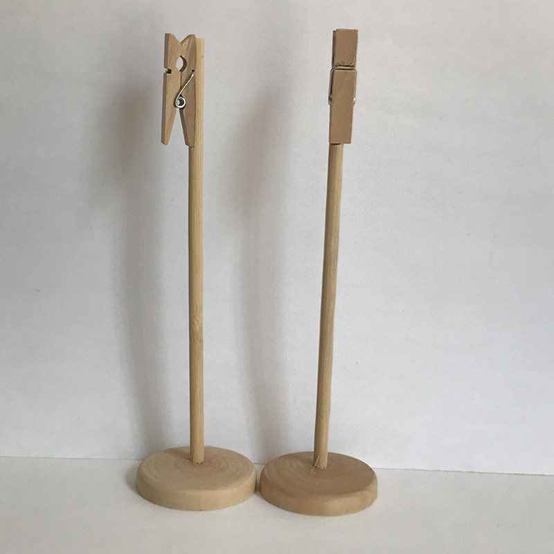 Chic Natural Table Number Holders Rustic Wedding Mini Wooden Clothespins Stand 50 pieces Place Card Holders