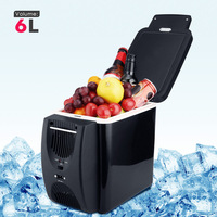 Car Refrigerator 6L Freezer Two Type Electrical Cooler Heater for Travel Hiking Camping Outdoor Dual use Icebox Auto Fridge Blac