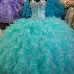 Turquoise Blue Quinceanera Dress Ball Gown Sweetheart Organza Beaded Long Prom Formal Dress vestido 15 anos