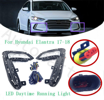 High Quality For Hyundai Elantra 17-18 LED Daytime Running Lamp Fog Light DRL Turn Signal Lamps Lighting OEM