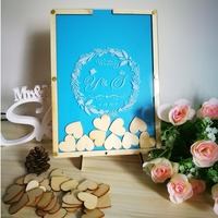 Customized Personalized Multi Colors Rustic Drop Top Wooden Wedding Guest Book Frame Custom Hearts 100Pcs Hand