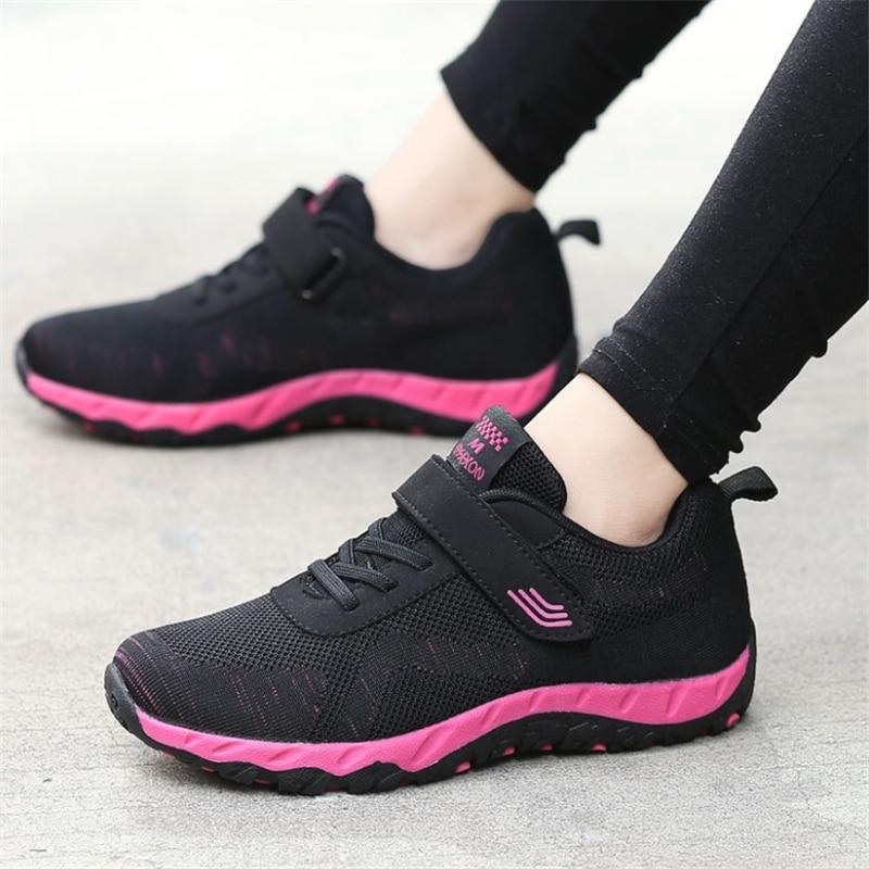 Livraison rapide femmes chaussures décontractées mode respirant marche maille à lacets chaussures plates baskets femmes 2019 Tenis Feminin Zapatos