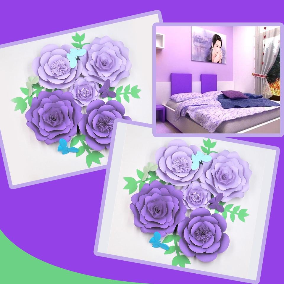 Us 40 32 28 Off Aliexpress Com Buy Lilac Diy Giant Paper Flowers 5pcs Leaves 4pcs Butterflies 4pcs Wedding Event Baby Nursery Decorations Decor