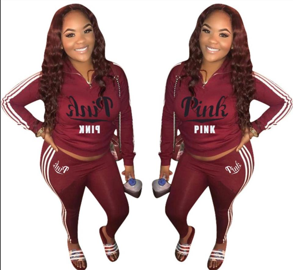 Pink Letter Print Women 2 Piece Set Zipper Long Sleeve Tops And Pants Sweatshirt Casual Two Piece Autumn Streetwear