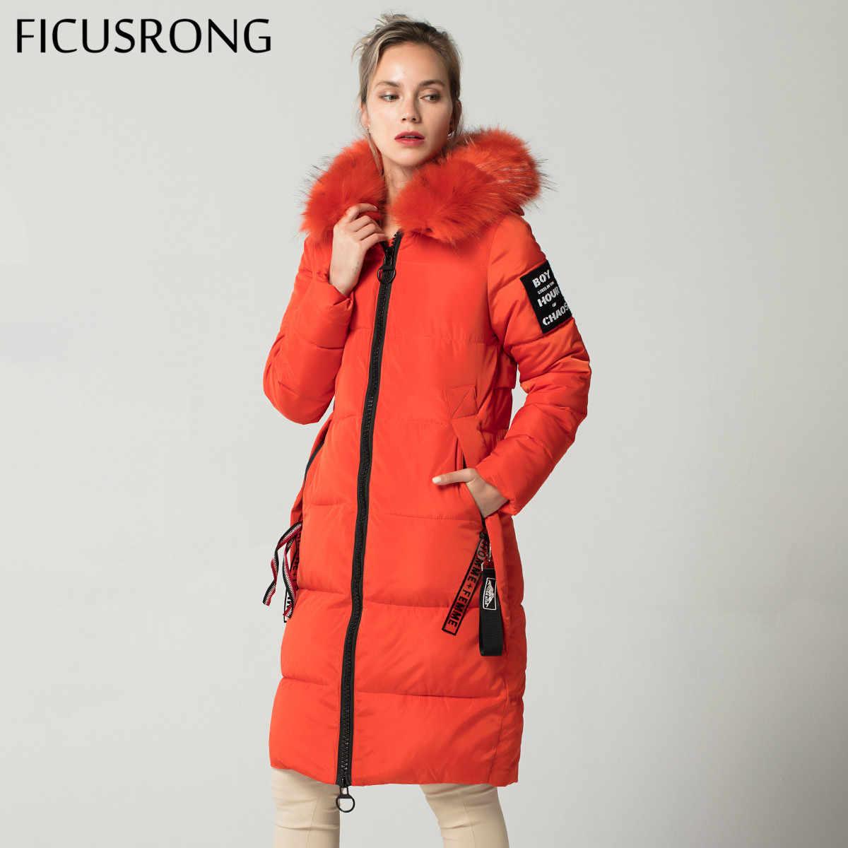 Chaqueta de invierno larga casual naranja Lisa para mujer, chaqueta acolchada ajustada para mujer, Parkas con capucha de invierno para mujer, abrigo de piel cálido FICUSRONG