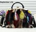 Women Luxury Nature Leather Handbags 2017 Color Rabbit Fur Shoulder Bag Tote Clutch Bolsas Feminina sac a main