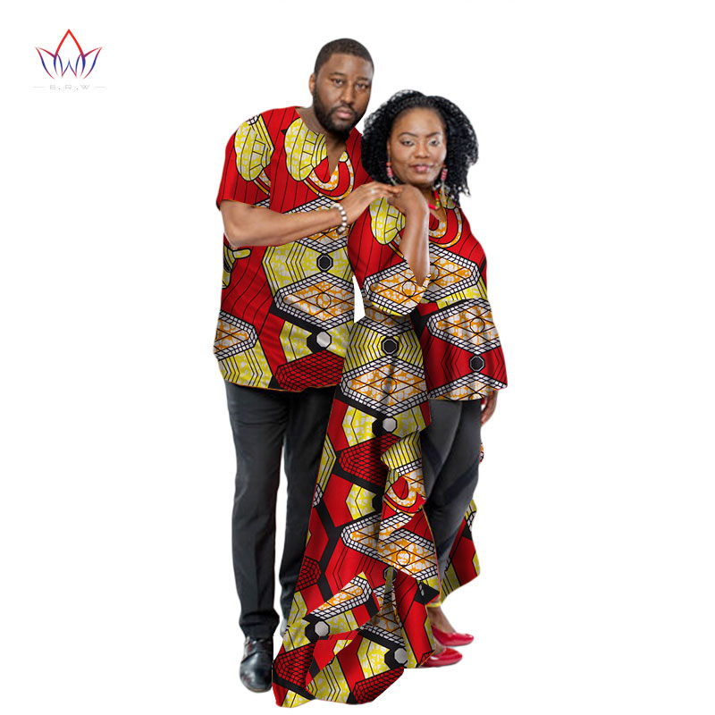 0af80ad93 Fashion African Couple Wedding Clothing Dashiki Women Skirt & Men shirt for  Lovers Casual loose Traditional Clothing WYQ66