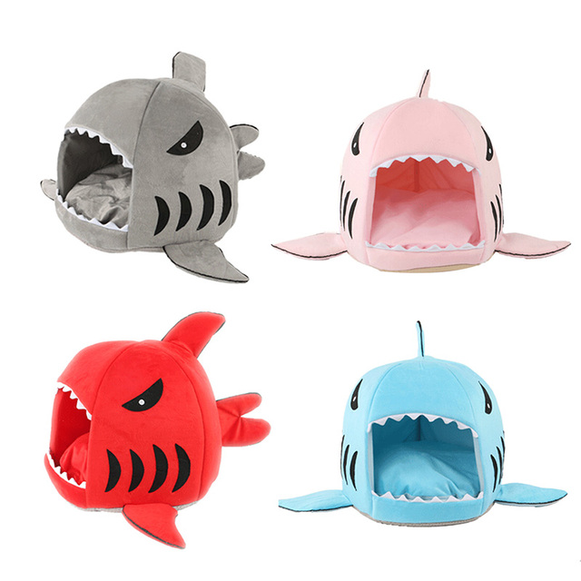Shark Shape Dog Kennel Cat Bed Pet Products Warm Soft Dogs House Pets Sleeping Bag Cave