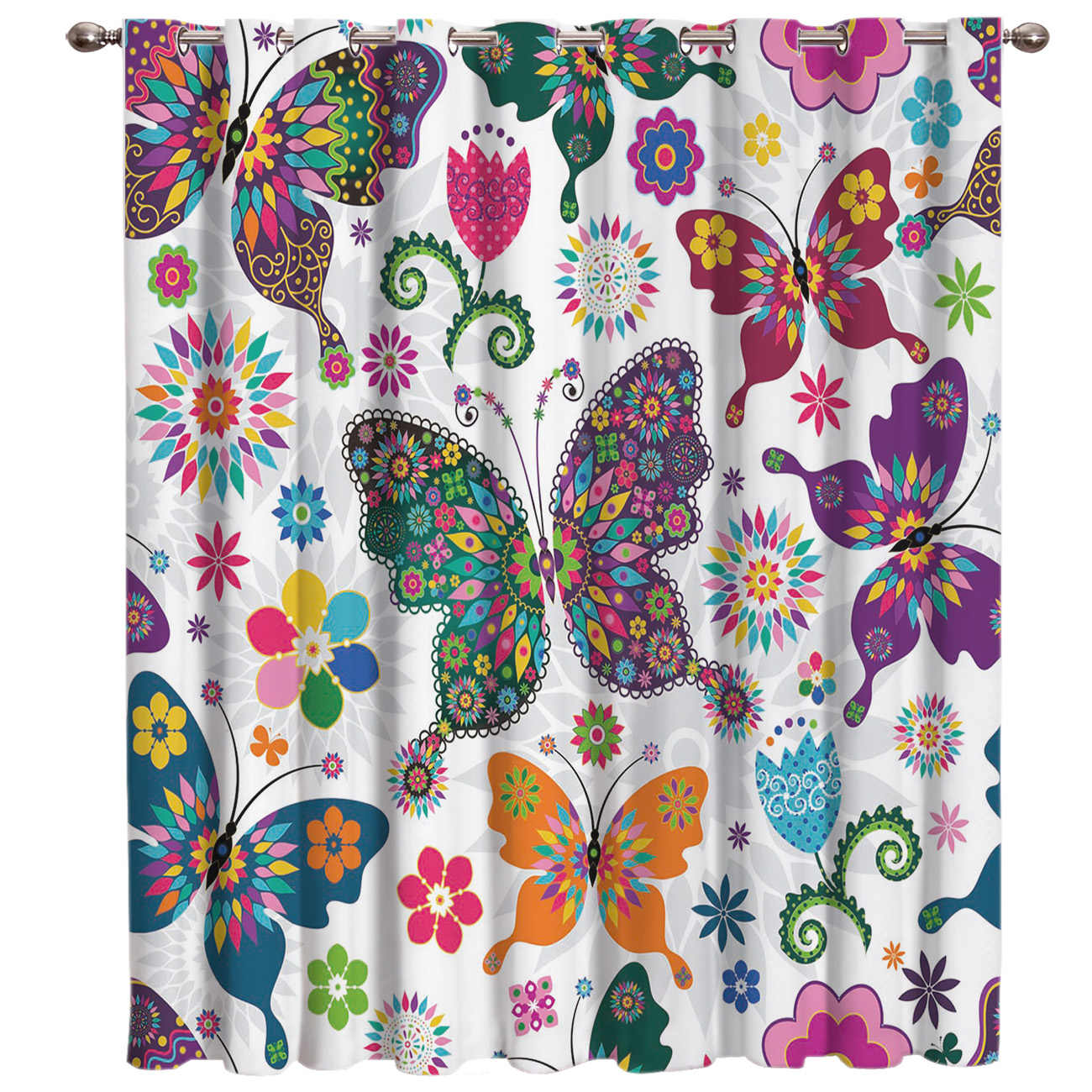 Butterfly and Flower Floral Window Curtains Dark Window Blinds Living Room Blackout Kitchen Indoor Fabric Kids Curtain Panels