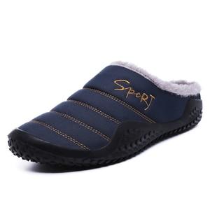 Image 2 - 2020 Schoenen Mannen Winter Slippers Warme Waterdichte Canvas Schoenen Met Bont Plus Size 39 48 Buiten Slippers Casual Rubber antislip