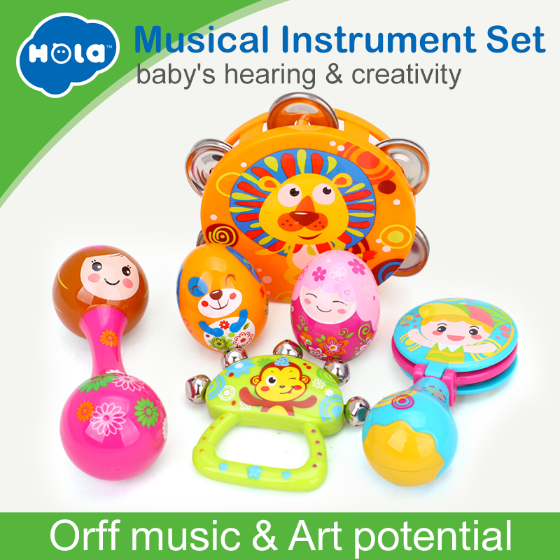 Free Shipping Children Musical Instruments Toy Set Timbrel Maracas Sand Eggs Shaker Hand Bells Bell Drum Baby Rattle