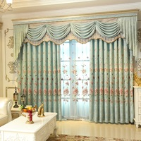 Blue Peony Flower Europe Embroidered Tulle Window Curtains For living Room Bedroom Blackout Curtains Window Treatment Drapes