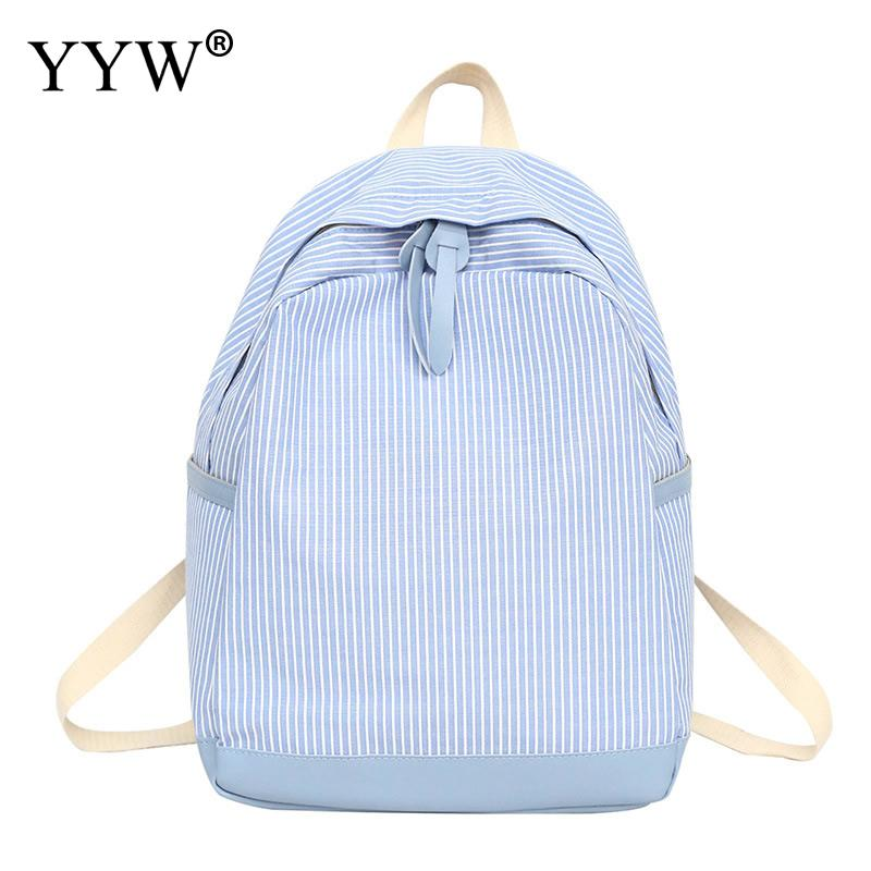 Laptop Backpack Skyblue Women Bookbags Canvas Casual-Bags Large-Capacity Teenager-Girl