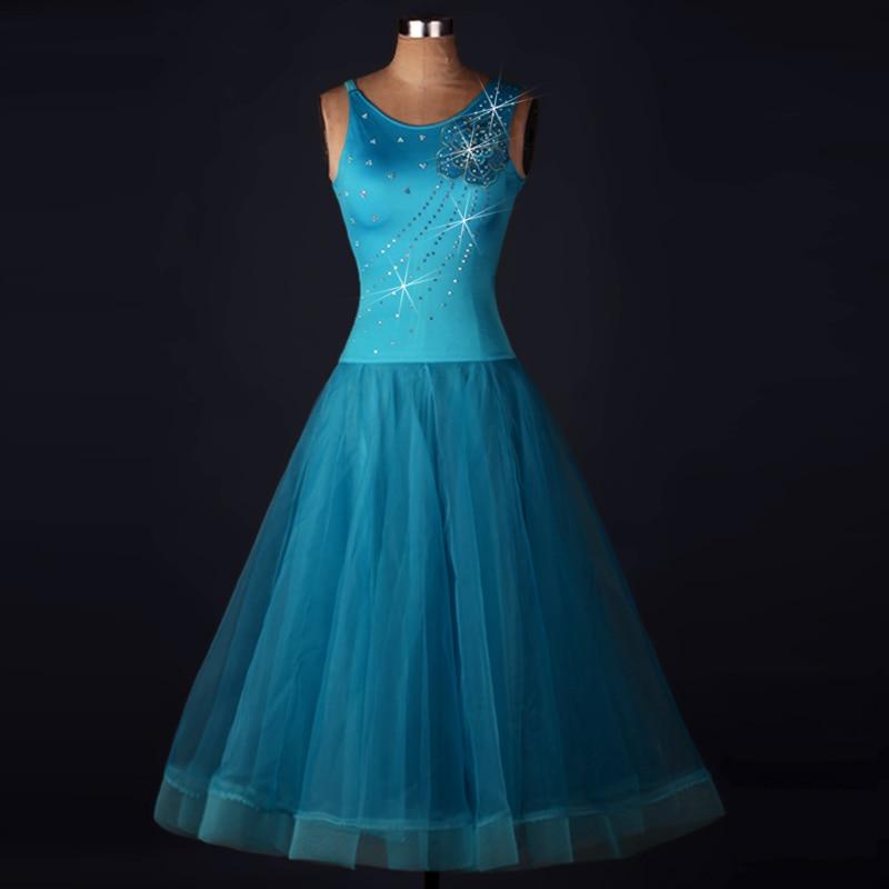 Plus Size Blue Ballroom Dancing Dresses Viennese Standard Ballroom