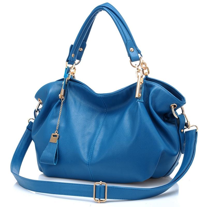 Real Genuine Leather Women Shoulder Bag Casual Large Capacity Hobos Bag Femal <font><b>Handbag</b></font> Big Fashionable <font><b>Indigo</b></font> Black Hand Bags