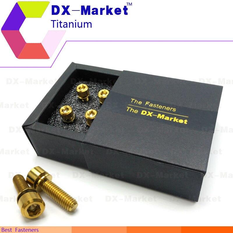 m6*20 , 6pcs/set , Gold color , m6 Titanium bolts hexagon socket cap screws with flat washer , Bicycle fasteners set