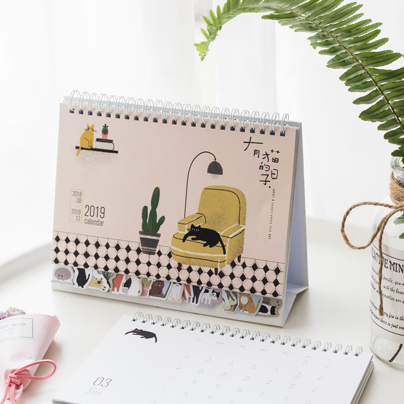 2019 Calendar Planner, Desk Calendar Agenda For School, Desk Calendar Birthday Reminder Kawaii