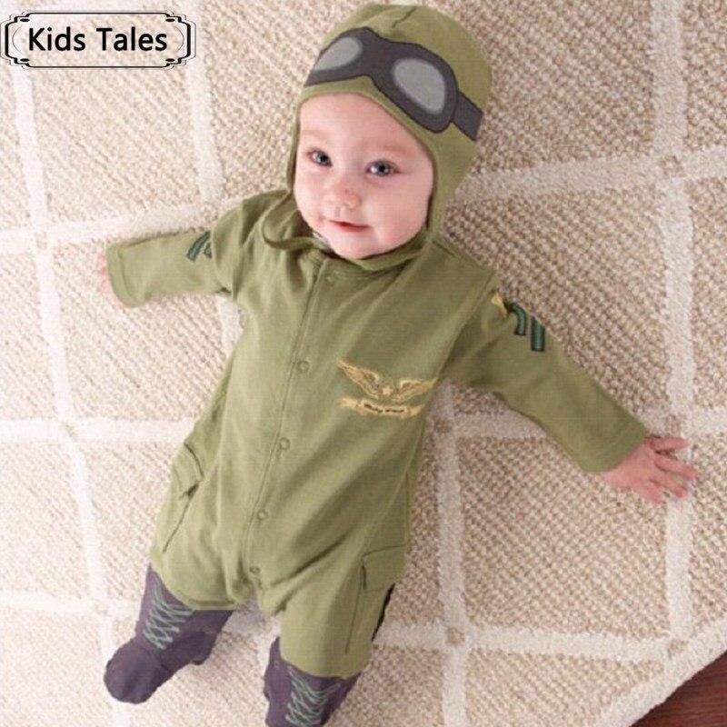 цена на 2017 New suit boy sliders newborn baby clothes baby boy clothes children pilot sliders infant long-sleeved jumpsuit+hat SR004
